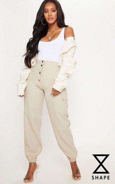 PrettyLittleThing shape pocket detail cargo pants in stone