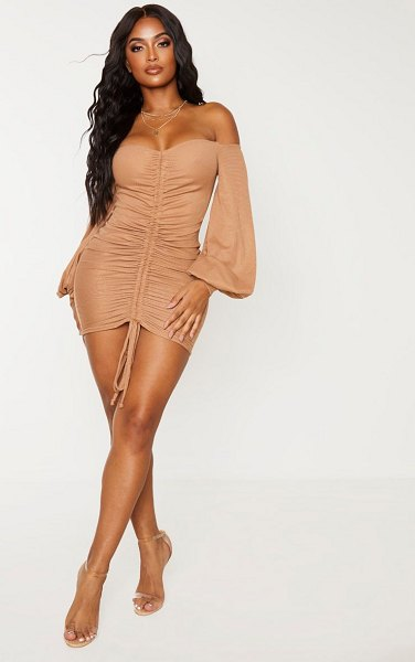 PrettyLittleThing shape rib bardot ruched front bodycon dress in camel