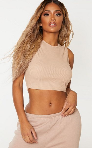 PrettyLittleThing shape ribbed high neck sleeveless crop top in stone