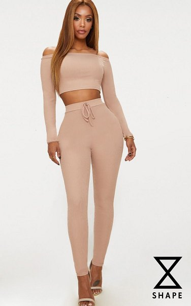 PrettyLittleThing shape ribbed high waist leggings in nude