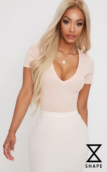 PrettyLittleThing shape ribbed plunge short sleeve bodysuit in nude - Blessed with a body like an hourglass Good for you girl...