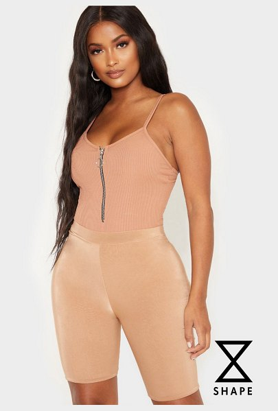 PrettyLittleThing shape ribbed ring pull bodysuit in camel - Blessed with a body like an hourglass Good for you girl...