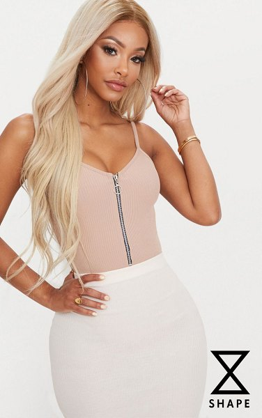 PrettyLittleThing shape ribbed ring pull bodysuit in nude - Blessed with a body like an hourglass Good for you girl...