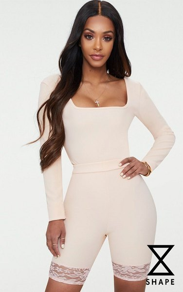PrettyLittleThing shape ribbed square neck bodysuit in nude - Blessed with a body like an hourglass Good for you girl...