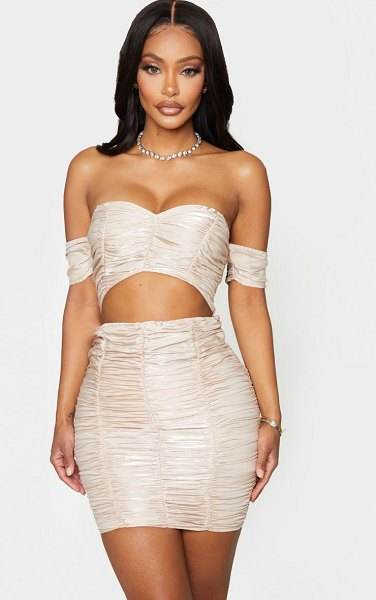 PrettyLittleThing shape ruched bardot cut out bodycon dress in champagne