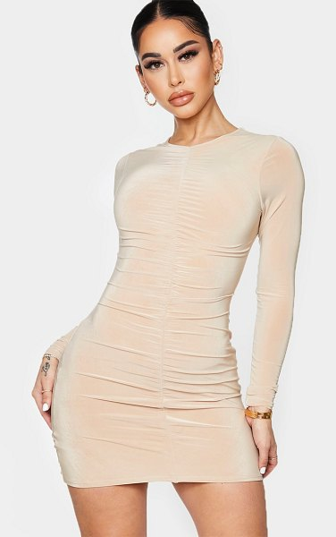 PrettyLittleThing shape ruched front long sleeve bodycon dress in stone
