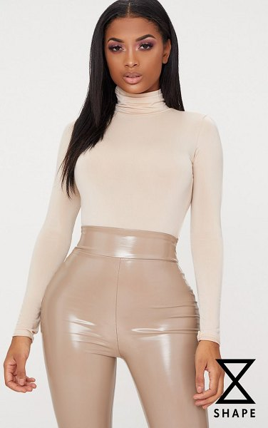 PrettyLittleThing shape slinky bodysuit in nude - Blessed with a body like an hourglass Good for you girl...