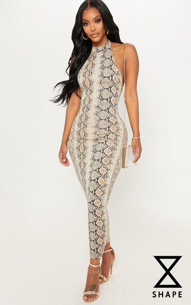 PrettyLittleThing shape snake print halterneck midaxi dress in taupe