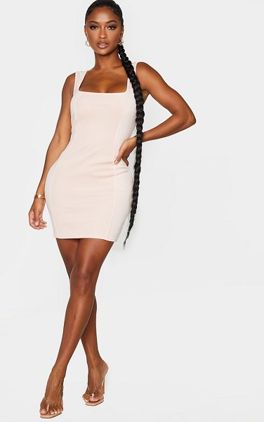 PrettyLittleThing shape square neck panel rib detail bodycon dress in nude