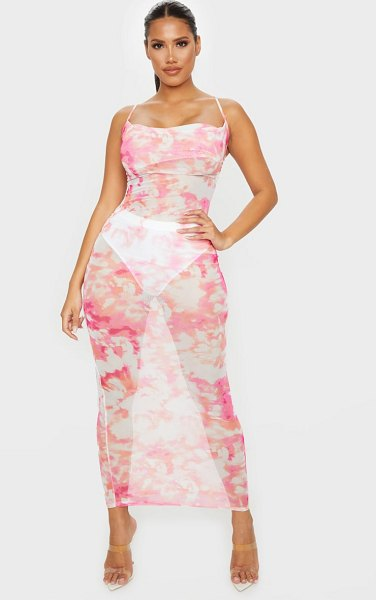 PrettyLittleThing shape tie dye mesh cowl neck maxi dress in pink