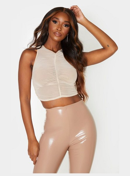 PrettyLittleThing sheer ruched front crop top in nude