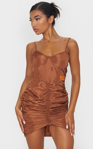 PrettyLittleThing shell ruched strappy bodycon dress in brown