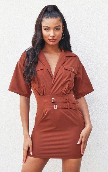 PrettyLittleThing short sleeve utility detail bodycon dress in chocolate