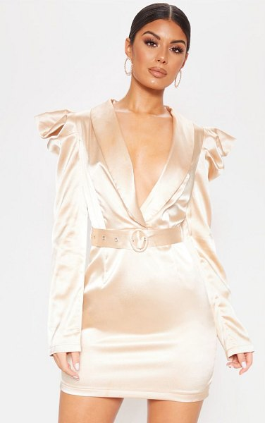 PrettyLittleThing shoulder detail belted blazer style romper in champagne - This simple but chic playsuit is sure going to be your...