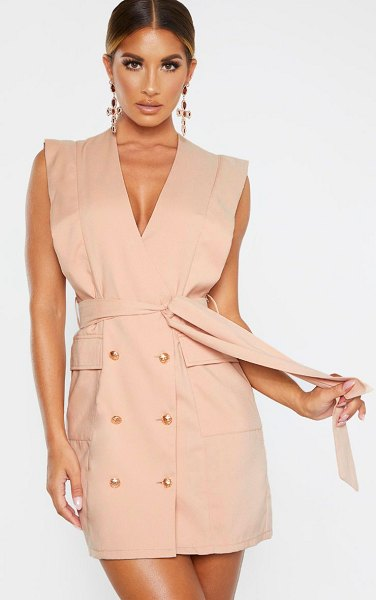 PrettyLittleThing sleeveless gold button detail blazer dress in nude