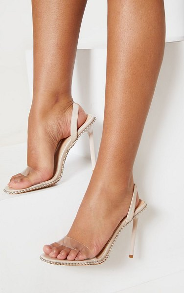 PrettyLittleThing slingback clear studded sandal in nude