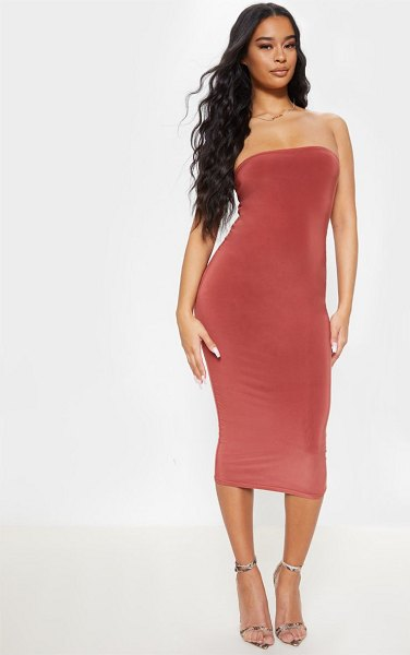 PrettyLittleThing slinky bandeau midi dress in terracotta