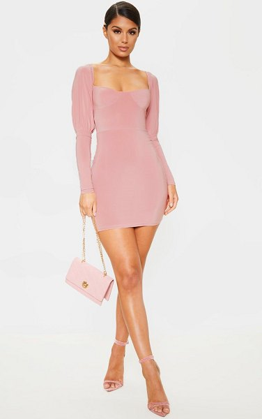 PrettyLittleThing slinky cup detail long sleeve bodycon dress in rose