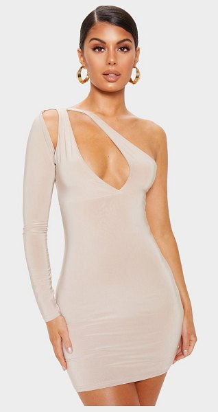 PrettyLittleThing slinky cut out detail one shoulder bodycon dress in nude - Give your look a sultry vibe with this bodycon dress...