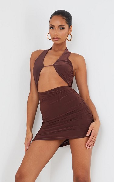 PrettyLittleThing slinky halterneck bust detail bodycon dress in chocolate