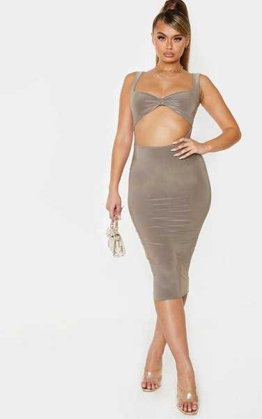 PrettyLittleThing slinky knot detail cut out midi dress in taupe