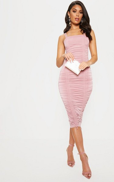 PrettyLittleThing slinky ruched midaxi dress in rose