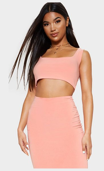 PrettyLittleThing slinky square neck sleeveless crop top in peach