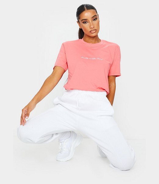 PrettyLittleThing slogan oversized t shirt in coral