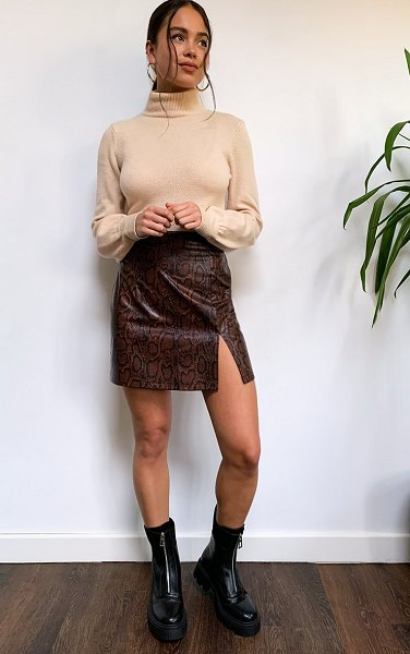 PrettyLittleThing snake faux leather split front mini skirt in brown