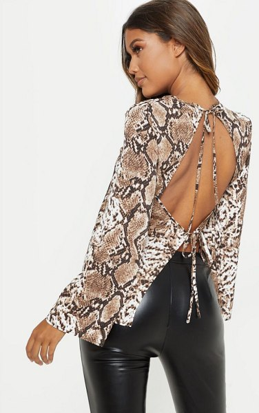 PrettyLittleThing snake print backless blouse in stone
