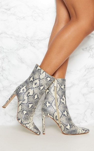 PrettyLittleThing snake print flat heel ankle boot in beige - If you re finding this seasons animal print intimidating...