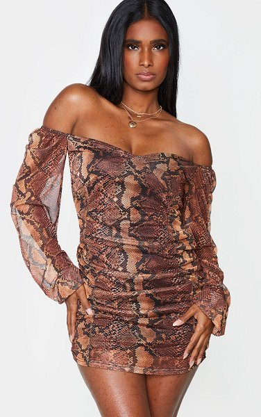 PrettyLittleThing snake print mesh double ruched long sleeve bodycon dress in brown