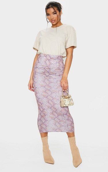 PrettyLittleThing snake print midaxi skirt in tan