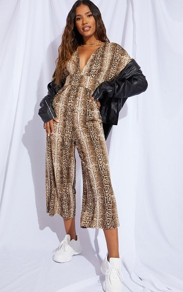 PrettyLittleThing snake print plunge culotte jumpsuit in stone
