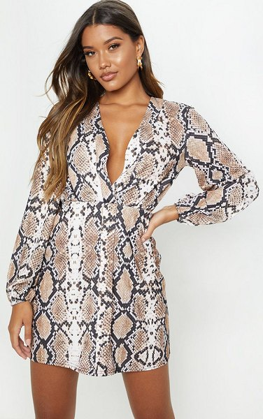 PrettyLittleThing snake print plunge shift dress in tan