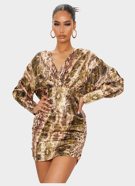PrettyLittleThing snake print satin plunge long sleeve ruched bodycon dress in brown
