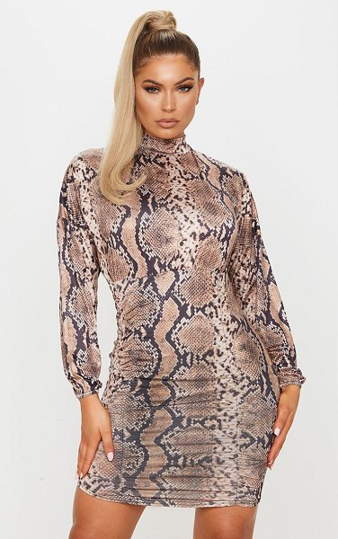 PrettyLittleThing snake print slinky high neck long sleeve ruched bodycon dress in brown