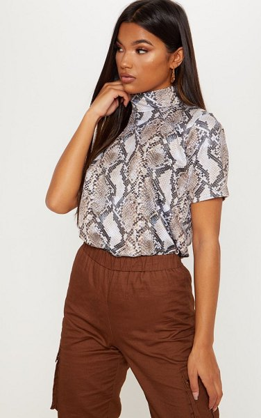 PrettyLittleThing snake printed high neck t shirt in brown