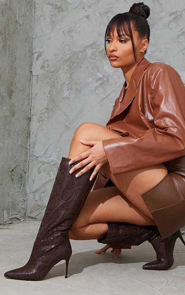 PrettyLittleThing snake scale pointed toe stiletto boots in chocolate