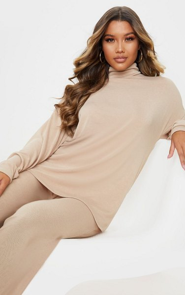 PrettyLittleThing soft cotton roll neck oversized sweater in stone