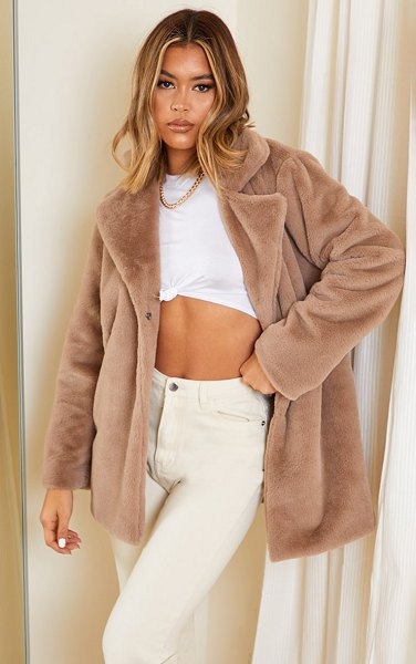 PrettyLittleThing soft faux fur coat in mink