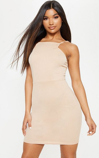 PrettyLittleThing square neck detail strappy bodycon dress in stone