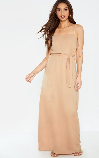 PrettyLittleThing square neck tie waist maxi dress in stone