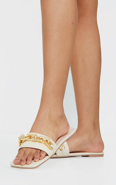 PrettyLittleThing square toe chain detail faux leather mule flat sandal in cream
