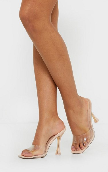 PrettyLittleThing square toe clear mules in nude