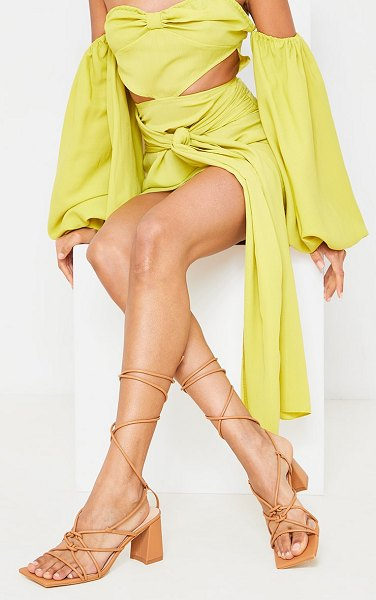 PrettyLittleThing square toe knotted lace up block sandals in tan