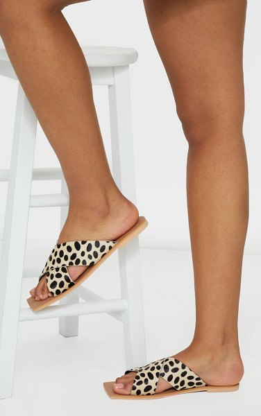 PrettyLittleThing square toe leather cross over strap leather mule sandals in leopard