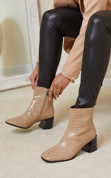 PrettyLittleThing square toe low flare block heels ankle boot in sand