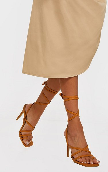 PrettyLittleThing square toe strappy lace up high heeled sandals in sand