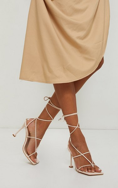 PrettyLittleThing square toe strappy lace up toe thong high heels sandals in beige